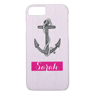 Vintage anchor nautical Pink stripe custom name iPhone 8/7 Case