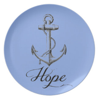 Vintage Anchor of Hope on blue melamine plate