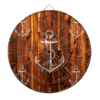 Vintage Anchor on Dark Wood Boards