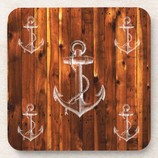 Vintage Anchor on Dark Wood Boards Drink Coasters