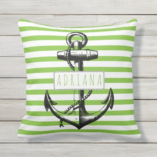 Vintage anchor on green striped pattern nautical throw pillow