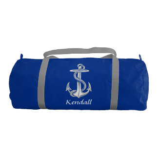 Vintage Anchor Personalized Gym Duffle Bag