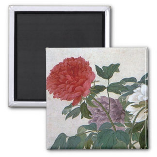 Vintage Ancient Chinese Art   Peonies Square Magnet
