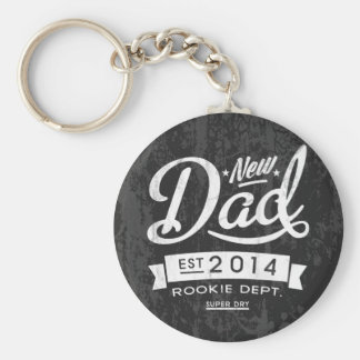 Vintage and Eye Catching New Dad 2014 Basic Round Button Keychain