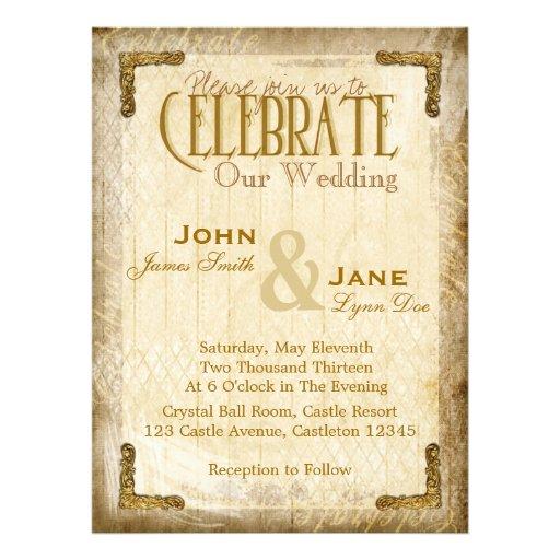 Vintage and Gold Wedding Invitation