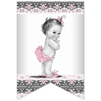 Vintage and Pink Grey Girl Baby Shower Bunting Flags