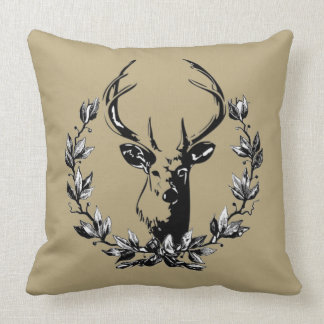 Vintage and Rustic Deer Throw Pillow