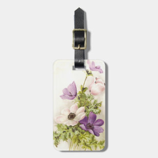 Vintage Anemone Flower Luggage Tag