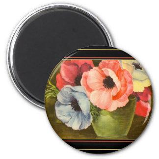 Vintage Anemones in Green Vase 2 Inch Round Magnet