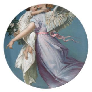 Vintage Angel And Child Illustration Plate