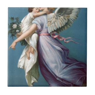 Vintage Angel And Child Illustration Tile