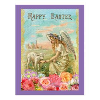 Vintage Angel And Lamb Postcard
