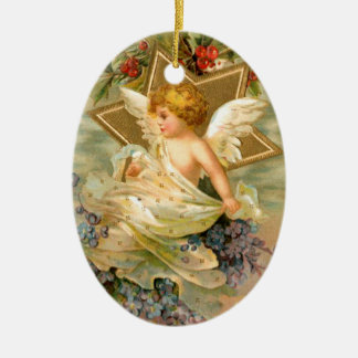 Vintage angel and star christmas holiday ornament