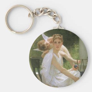 Vintage Angel Art, Work Interrupted by Bouguereau Basic Round Button Keychain