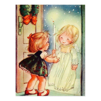 Vintage Angel At The Door Postcard