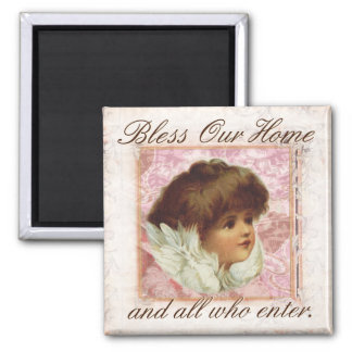Vintage Angel Bless Our Home Magnet
