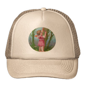 Vintage Angel Child Writing on Tree Trucker Hat