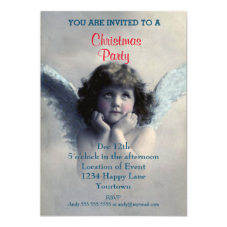 Vintage Angel Christmas Party Card