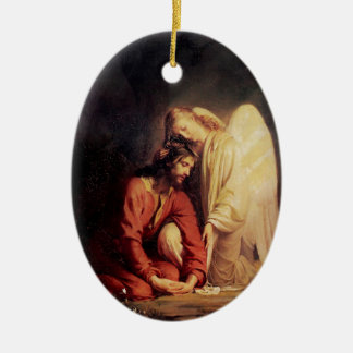 Vintage Angel Comforting Jesus Ceramic Oval Ornament