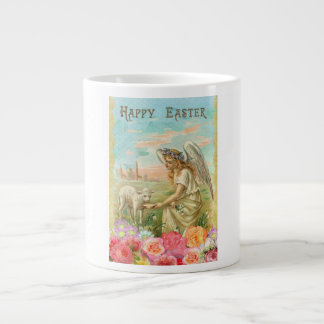 Vintage Angel Feeding Lamb Happy Easter Giant Coffee Mug
