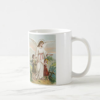 Vintage angel guardian angels and two children coffee mug