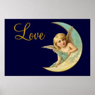Vintage Angel in Moon Poster