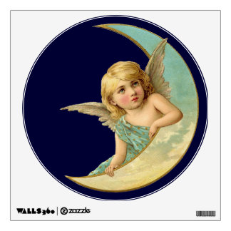 Vintage Angel in Moon Wall Sticker