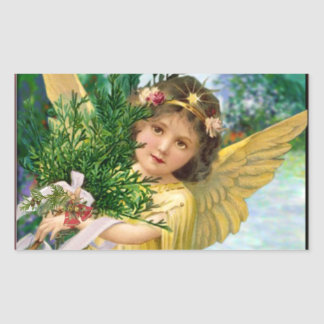 Vintage Angel In The Snow Christmas Sticker