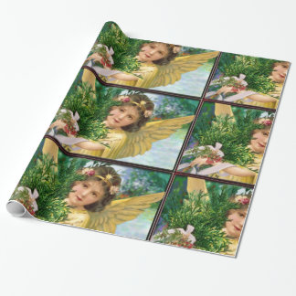 Vintage Angel In The Snow Christmas Wrapping Paper