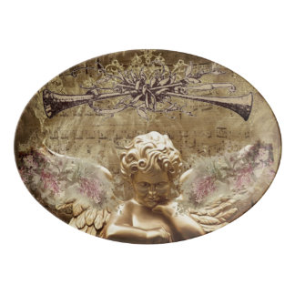 Vintage Angel In Thought Porcelain Serving Platter