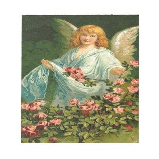 Vintage, Angel & Pink Roses Notepad
