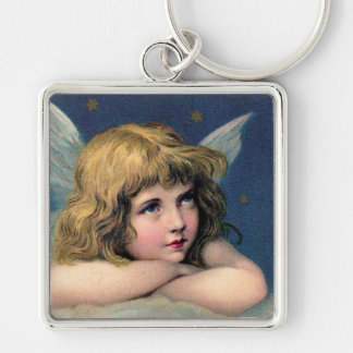 Vintage Angel Silver-Colored Square Keychain