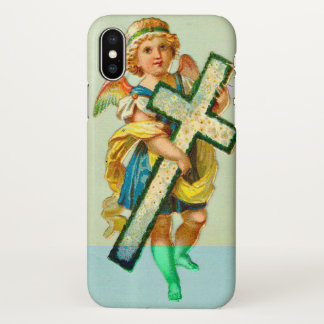 Vintage Angel with Cross Christmas iPhone X Case