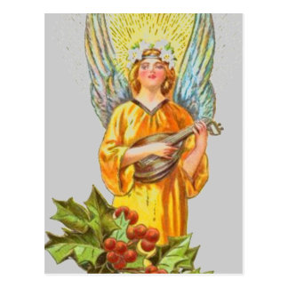 Vintage Angel With holly And Mandolin Postcard