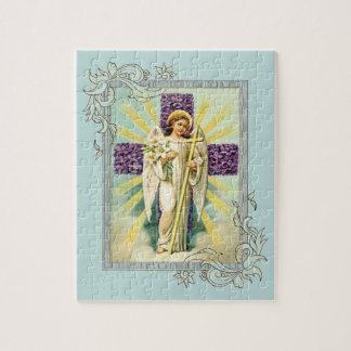Vintage Angel With Purple Cross Puzzle