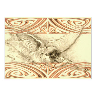 Vintage Angel With Trumpet Metal Look Scrolls Card