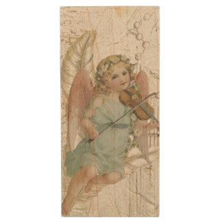 Vintage Angel with Violin Wood USB 3.0 Flash Drive