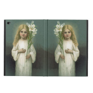 Vintage Angelic Girl White Dress Lily Flowers