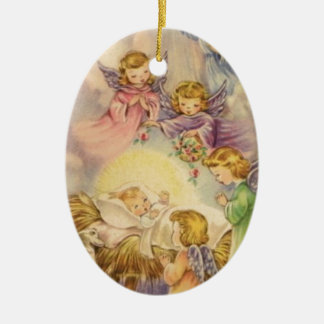 Vintage Angels Around Baby Jesus Ceramic Ornament