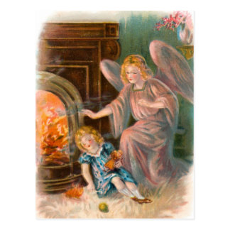 Vintage angels, guardian angel girl and fire postcard