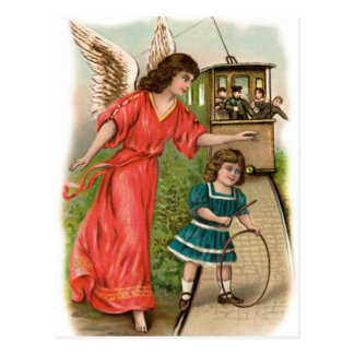 Vintage angels guardian angel girl and tram postcard