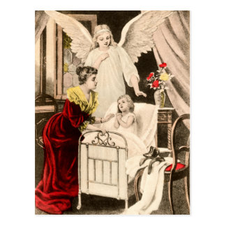 Vintage angels guardian angels, mother and child postcard
