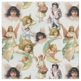 Vintage Angels in the Clouds Collage Fabric