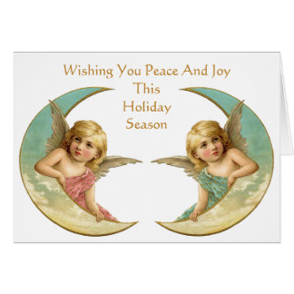 Vintage Angels on Crescent Moon Peace and Joy Card