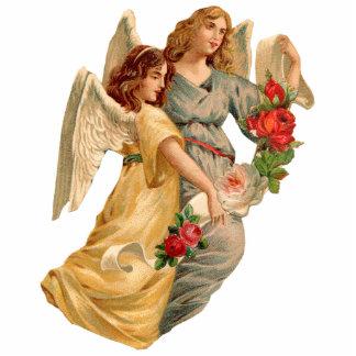 Vintage Angels & Roses Christmas Ornament Photo Sculpture Ornament