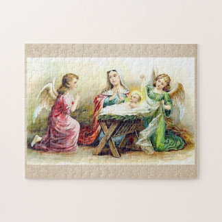 Vintage Angels Surrounding Baby Jesus and Mary Jigsaw Puzzle