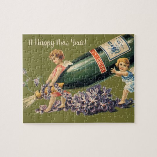 Vintage Angels with Champagne, A Happy New Year Jigsaw Puzzle