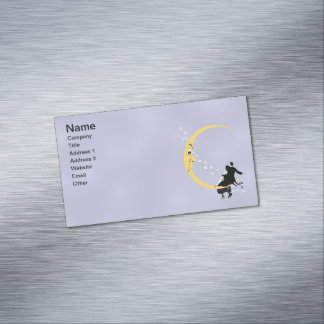 Vintage Angry Crescent Moon Face Stars Couple Business Card Magnet