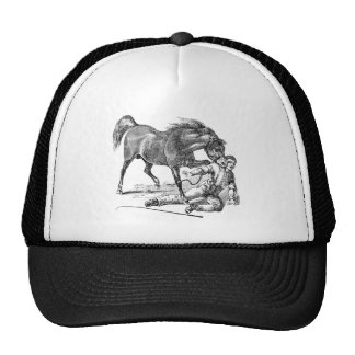Vintage Angry Vicious Biting Horse Template Trucker Hat