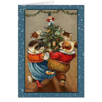 Vintage Animal Christmas Greeting Card
